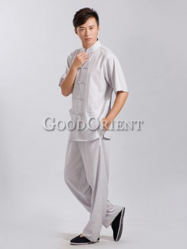Light grey linen chinese matching set