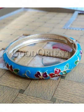 Blue flower design cloisonne bracelet