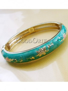 Greem flower design cloisonne bracelet