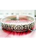 Miao carved floral silver bracelet