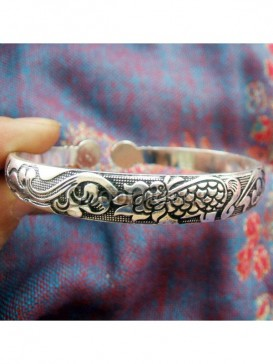 "Miao carved ""Monster""Silver bracelet"