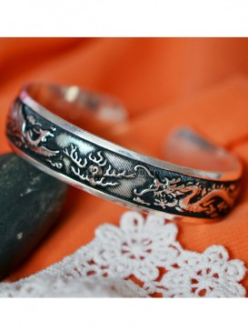 Miao silver bracelet-Two dragons playing ball