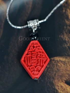 Carved lacquerware pendant necklace