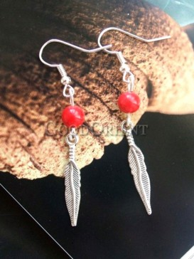 Red feather series tibetan earring