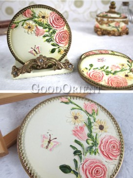 Europe style roses resin insulation pad