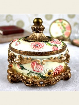 Imitation antique circular jewelry box