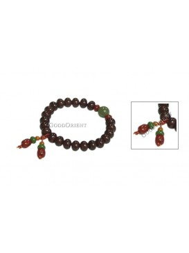 Oriental Protection Pu Ti Root Bracelet---Dark Red
