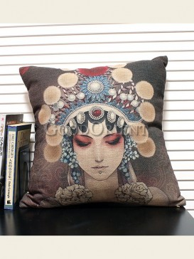 Zakka's vintage style cushion-Beijing Opera Beauty
