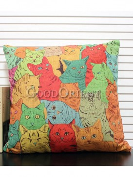 Zakka's vintage style cushion-Colourful kitty