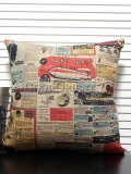Zakka's vintage style cushion-Old newspaper