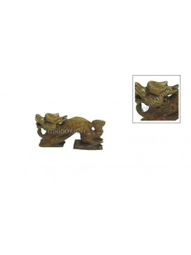 Wonderful Chinese Peach Wood Carving Vivid Dragon Statue