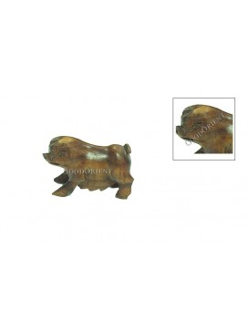 Wonderful Chinese Peach Wood Carving Vivid Pig Statue