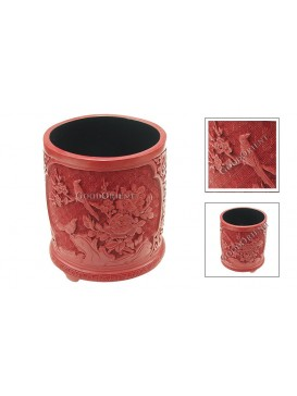 Hand-Carved Red Cinnabar Lacquer Pen Holder---Pie and Peony