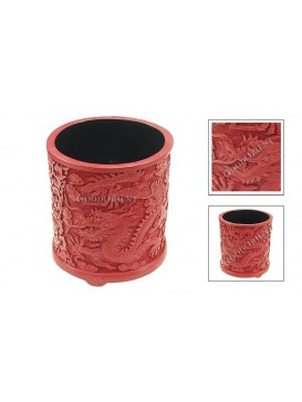 Hand-Carved Red Cinnabar Lacquer Pen Holder---Dragon
