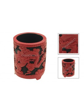 Hand-Carved Red and Black Cinnabar Lacquer Pen Holder---Dragon