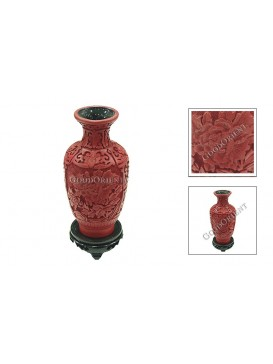 Hand-Carved Red Cinnabar Lacquer Vase---Peony