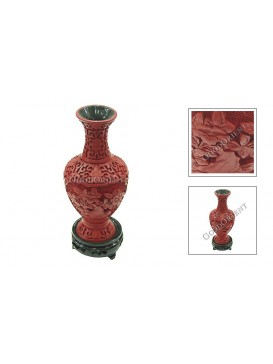 Hand-Carved Red Cinnabar Lacquer Vase---Flower