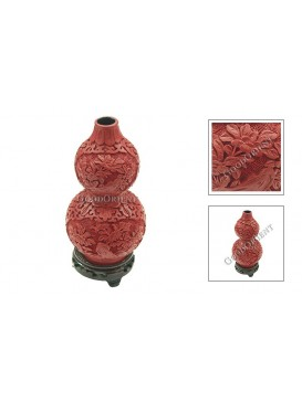 Hand-Carved Red Cinnabar Lacquer Vase---Calabash