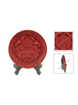 Hand-Carved Cinnabar Disk---Three Peaches