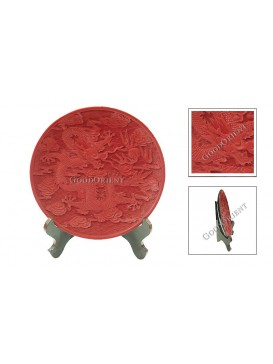 Hand-Carved Cinnabar Disk---Dragon