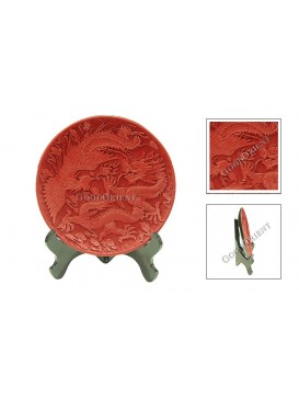 Hand-Carved Cinnabar Disk---Dragon and Phoenix