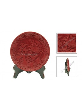 Hand-Carved Cinnabar Disk---Lotus