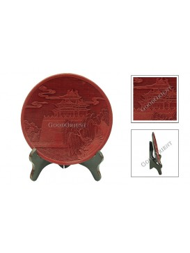 Hand-Carved Cinnabar Disk---West Lake