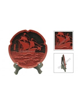 Hand-Carved Cinnabar Disk---Jalor on the Sea