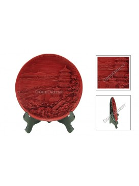 Hand-Carved Cinnabar Disk---Lei Feng Tower