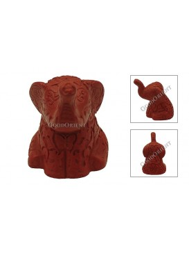 Hand-Carved Cinnabar Sculptures---Sitting Elephant