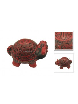 Hand-Carved Cinnabar Sculptures---Blessing Tortoise