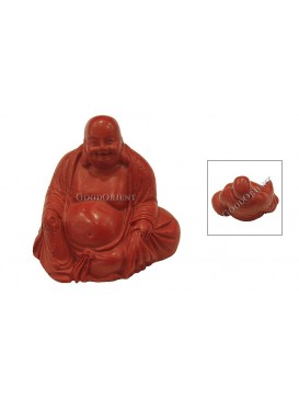 Hand-Carved Cinnabar Sculptures---Happy Buddha