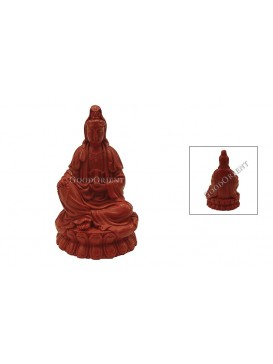 Hand-Carved Cinnabar Sculptures---Kwan-yin