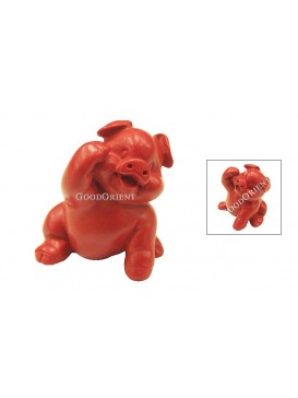 Hand-Carved Cinnabar Sculptures---Waving Pig
