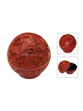 Hand-Carved Cinnabar Cosmetic Case---Ball