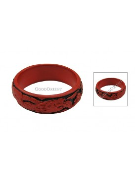 Hand-Carved Red and Black Cinnabar Bracelet---Dragon and Phoenix