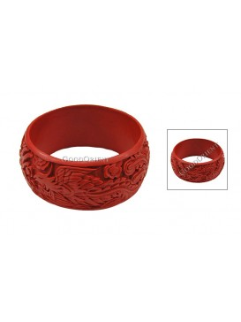 Hand-Carved Cinnabar Bracelet---Dragon and Phoenix