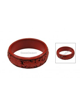 Hand-Carved Red and Black Cinnabar Bracelet---Dragon