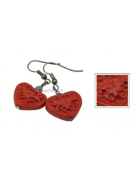 Hand-Carved Cinnabar Earring---Heart