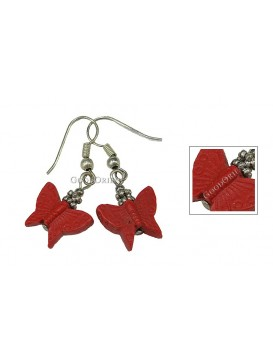 Hand-Carved Cinnabar Earring---Butterfly