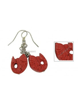 Hand-Carved Cinnabar Earring---Fish