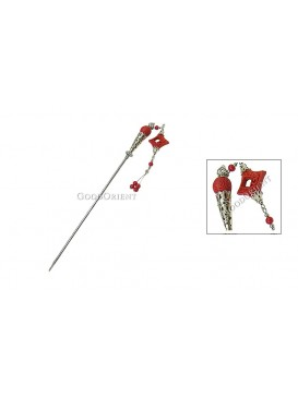 Hand-Carved Cinnabar Hair Pin---Rhombic