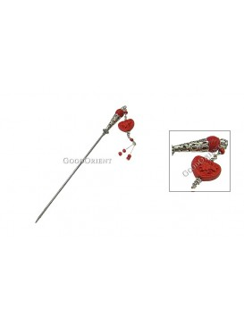 Hand-Carved Cinnabar Hair Pin---Heart