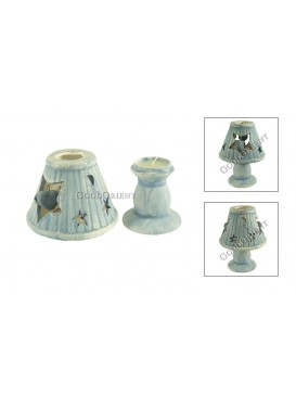 Novel Ceramic Reading Lamp Candle Holder---Sky Blue