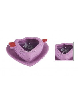 Ceramic Loved Heart Candle Holder---Purple