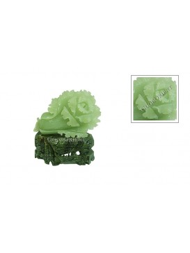 Light Green Sculptured Jade Cabbage Statue
