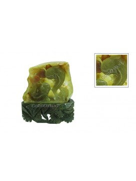 Fish Playing Together Jade Ornament---Erect