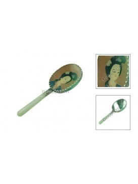 Hand Painted Porcelain Mirror with Jade Handle ---Fairy