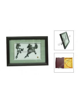 Chinese Iron Picture Art---Twin Horses