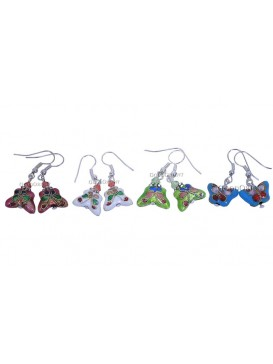 Four Colors Butterfly Cloisonne Earring
